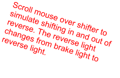 Scroll mouse over shifter to simulate shifting in and out of reverse. The reverse light changes from brake light to reverse light.